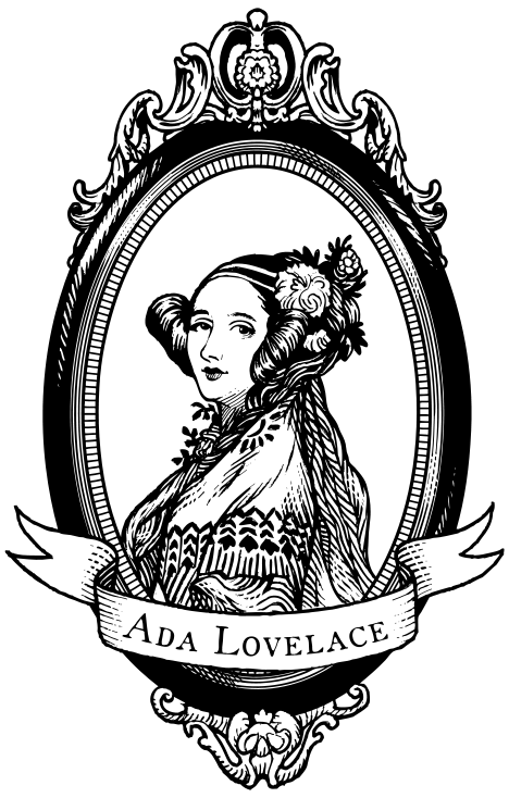 A black-and-white woodcut-style portrait of Ada Lovelace, based on the nineteenth century A. E. Chaton portrait, created by Colin Adams for the Ada Initiative.