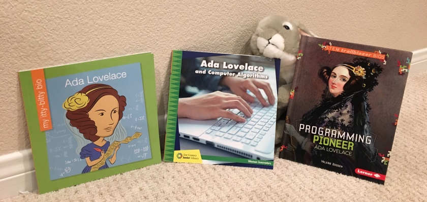 Sprinkles writes about Ada Lovelace by Virginia Loh-Hagan, Ada Lovelace and Computer Algorithms by Ellen Labrecque, and Programming Pioneer Ada Lovelace by Valerie Bodden.