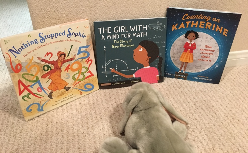 Sprinkles also recommends Nothing Stopped Sophie: The Story of Unshakable Mathematician Sophie Germain by Cheryl Bardoe, The Girl with a Mind for Math: The Story of Raye Montague by Julia Finley Mosca, and Counting on Katherine: How Katherine Johnson Saved Apollo 13 by Helaine Becker.
