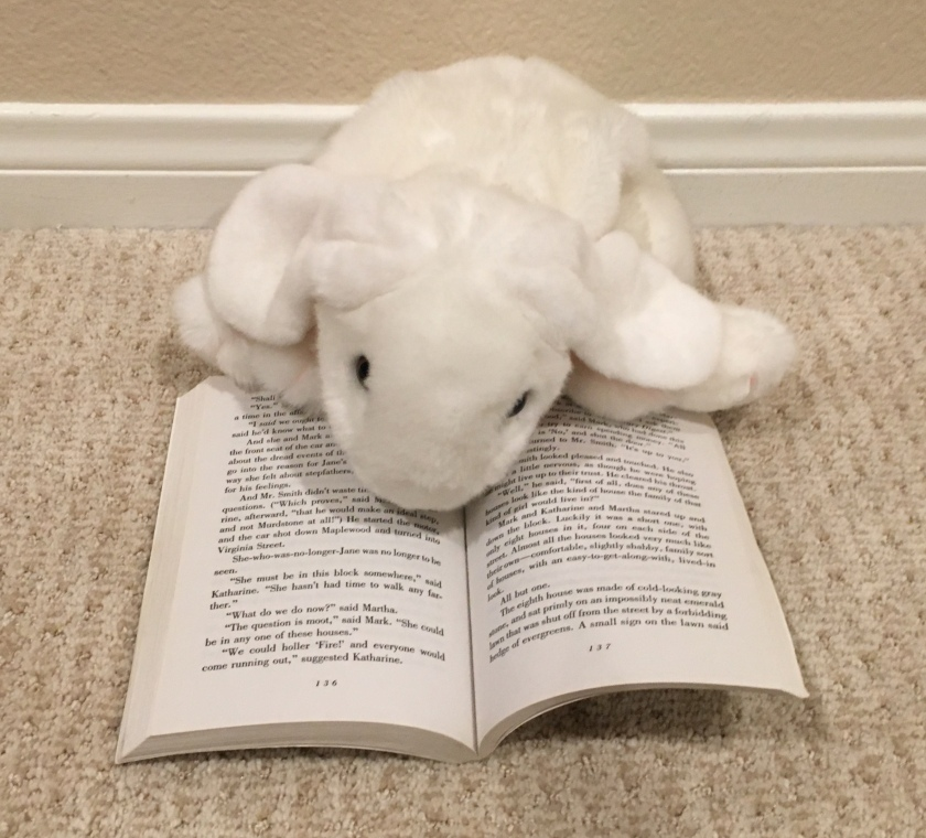 Marshmallow is pointing toward one of her favorite parts of the book, where Jane makes a foolish decision. Here Jane is wishing that she belonged to a different family.