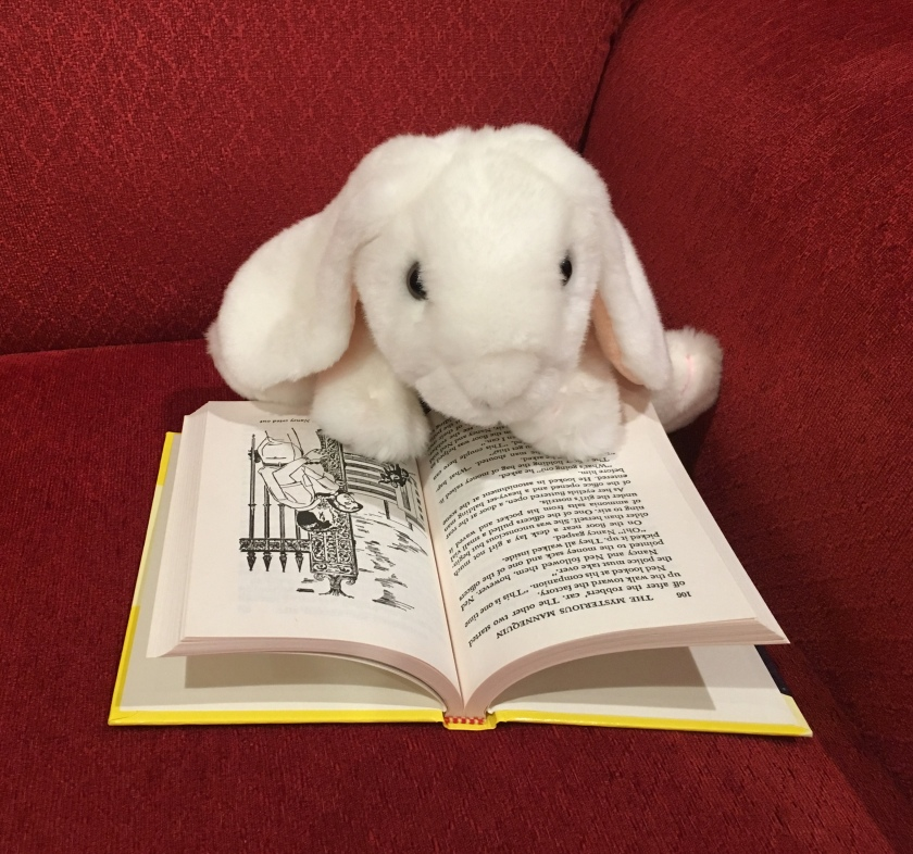 Marshmallow is reading The Mysterious Mannequin by Carolyn Keene (Book #47 of Nancy Drew Detective Stories).