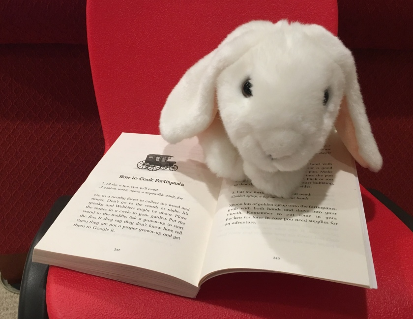 Marshmallow insisted on trying the fartinpants recipe included at the end of Beatrix The Bold and the Curse of the Wobblers. The whole Book Bunnies household was quite pleased.
