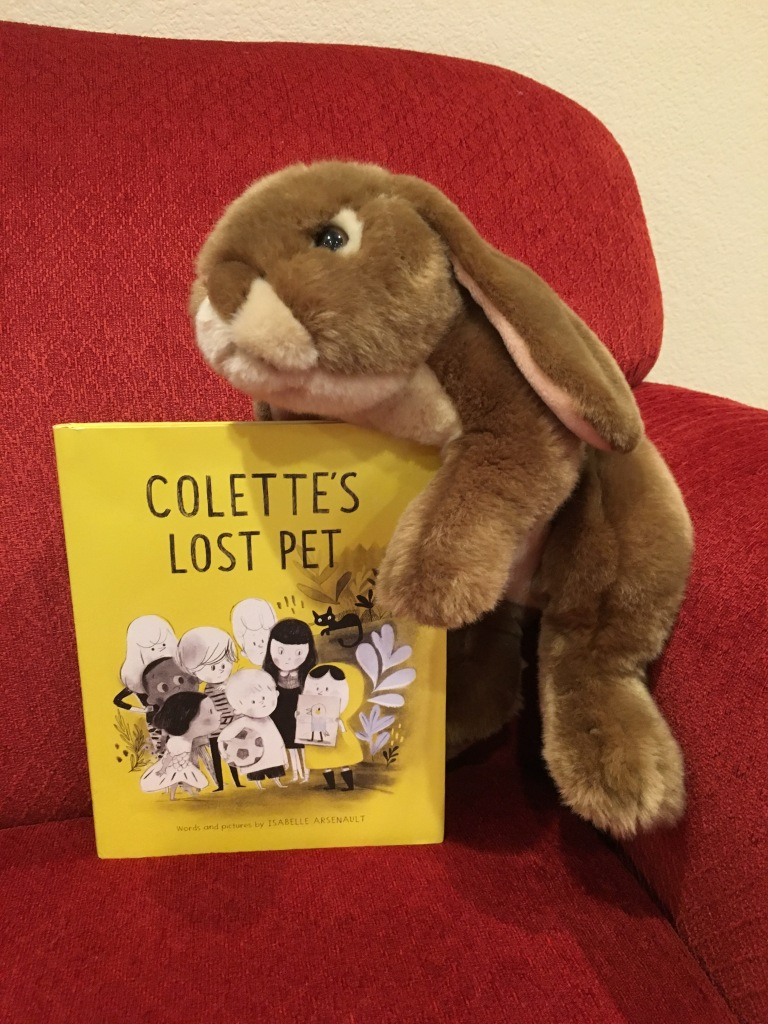 Caramel enjoyed reading Colette's Lost Pet by Isabelle Arsenault.