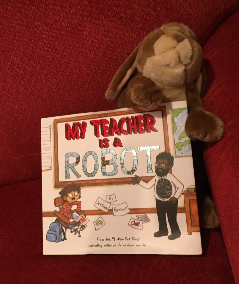 Caramel enjoyed reading My Teacher is a Robot by Jeffrey Brown.