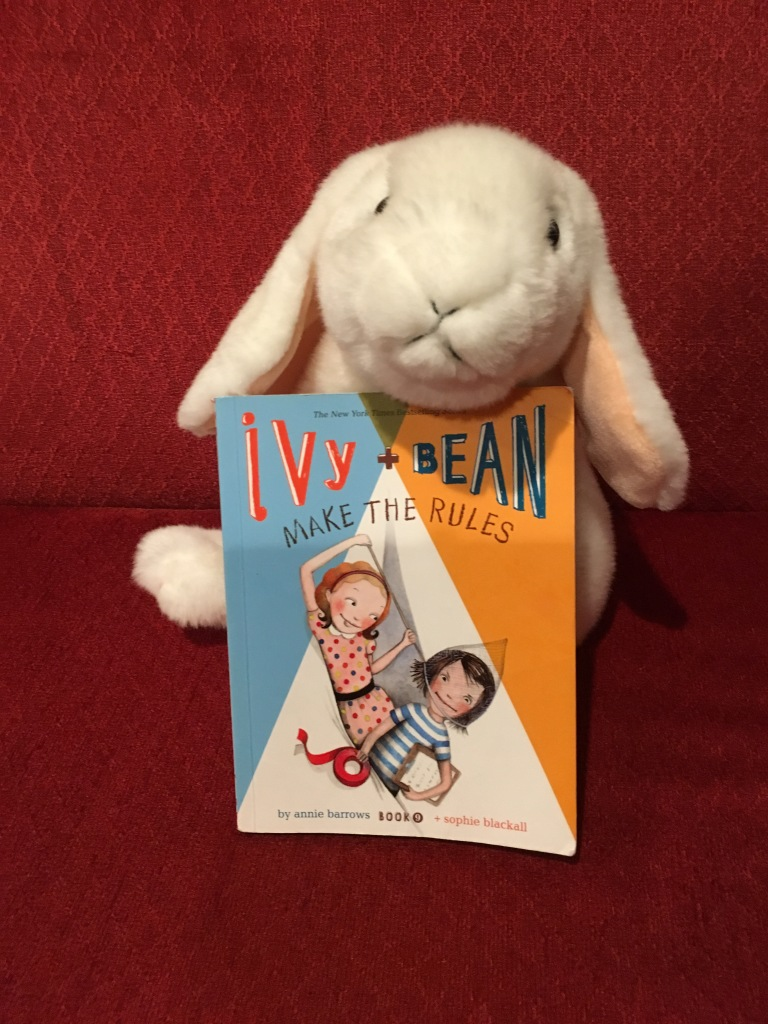 Marshmallow continues to enjoy reading Ivy and Bean Make the Rules (Book 9 of the Ivy + Bean series) written by Annie Barrows and illustrated by Sophie Blackall.