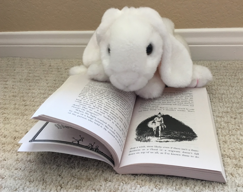 Marshmallow is pointing at Pauline Baynes' illustration of Puddleglum the Marsh-wiggle, a character from The Silver Chair.