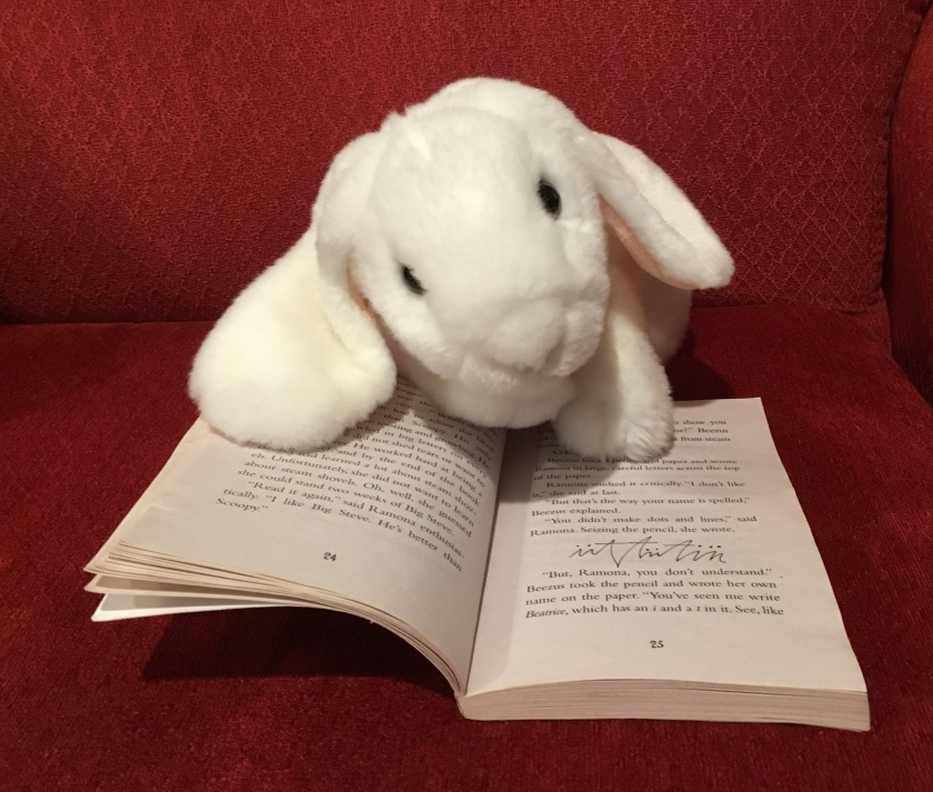 Marshmallow is pointing at the page where we see some of Ramona's scribbles.