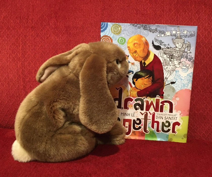 Caramel is looking at the front cover of Drawn Together, written by Minh Le and illustrated by Dan Santat.