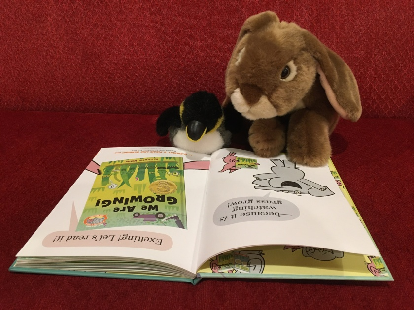 Caramel and his mysterious penguin friend are reading the preamble of We Are Growing! by Laurie Keller, where Elephant and Piggie tell the readers that reading this book is like watching grass grow ... because it is! But in the best possible way...