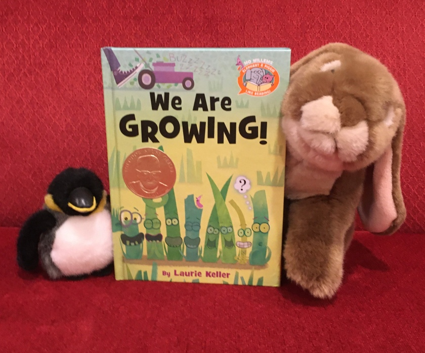 Caramel and his mysterious penguin friend really enjoyed reading We Are Growing! by Laurie Keller, and recommend it to all other little bunnies and penguins.