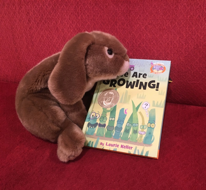 Caramel reviews We Are Growing! by Laurie Keller. (Can you see the little beak behind the book? Who is hiding there??)