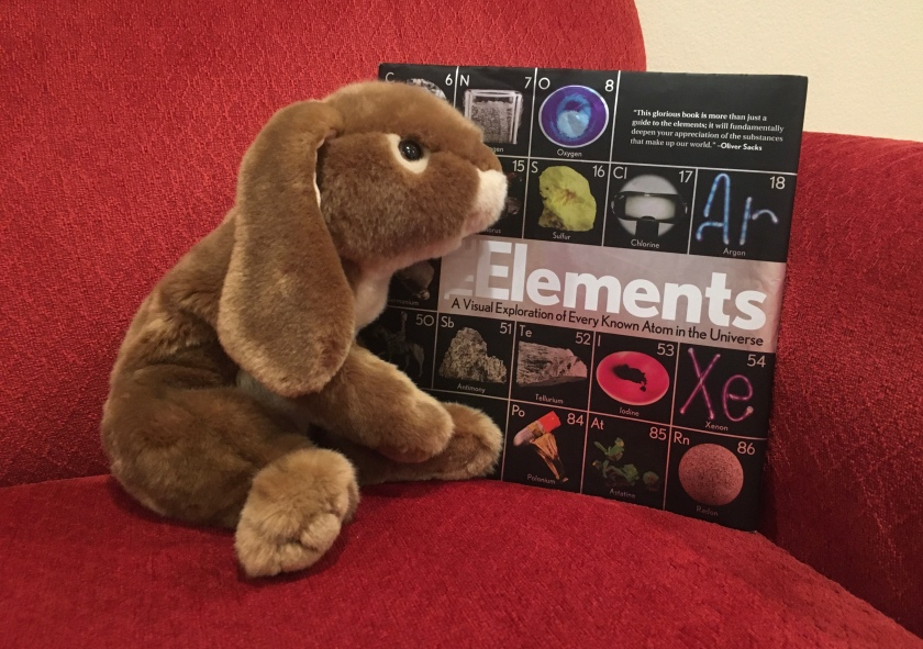 Caramel is still enjoying reading about elements and looking at the beautiful pictures in The Elements: A Visual Exploration of Every Known Atom in the Universe by Theodore Gray.