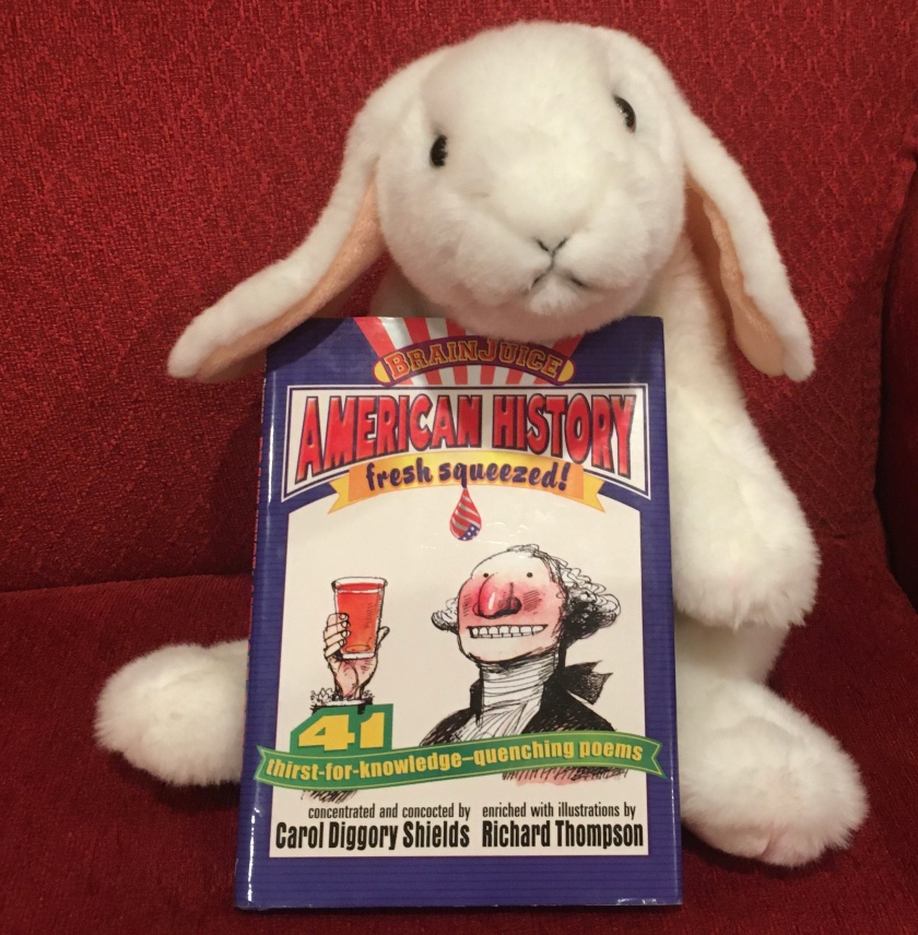 Marshmallow reviews BrainJuice: American History, Fresh Squeezed! written in poetic form by Carol Diggory Shields and illustrated by Richard Thompson.