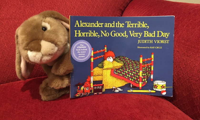 Caramel recommends Alexander and the Terrible, Horrible, No Good, Very Bad Day, written by Judith Viorst and illustrated by Ray Cruz to all the little bunnies who might be having a bad day.