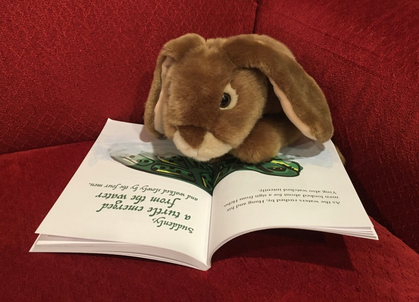 Caramel is looking at the page where the magic turtle emerges from the water in Ying and the Magic Turtle by Sue Looney.
