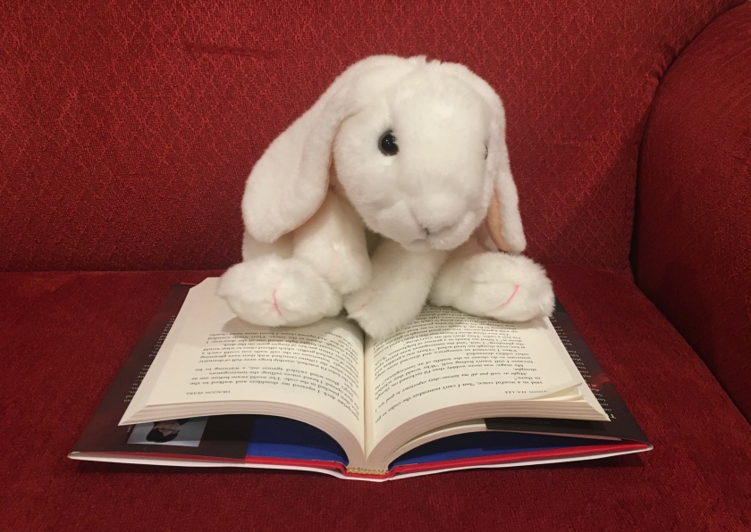 Marshmallow is reading Dragon Pearl by Yoon Ha Lee.