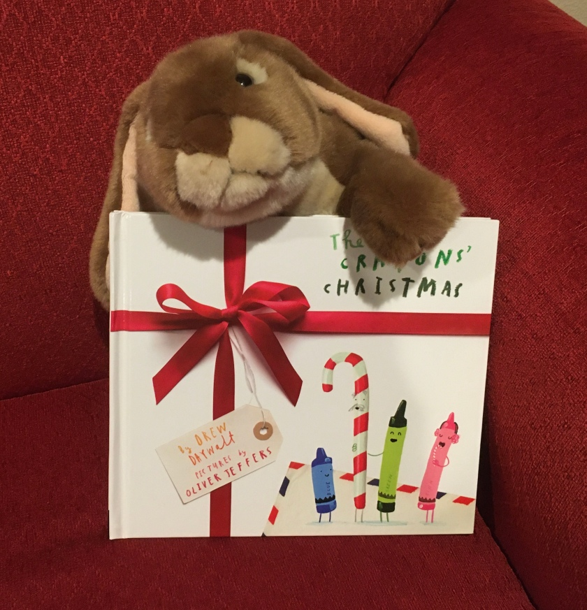 Caramel really enjoyed reading and exploring all the goodies within The Crayons' Christmas, written by Drew Daywalt and illustrated by Oliver Jeffers.