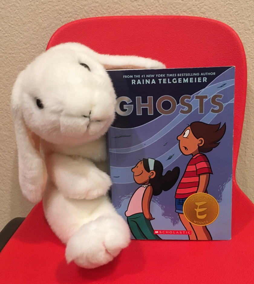 Marshmallow reviews Ghosts by Raina Telgemeier.