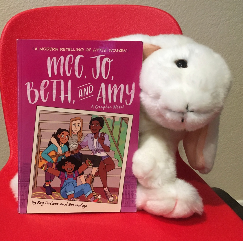 Marshmallow reviews Meg, Jo, Beth, and Amy: A Graphic Novel, written by Rey Terciero and illustrated by Bre Indigo.