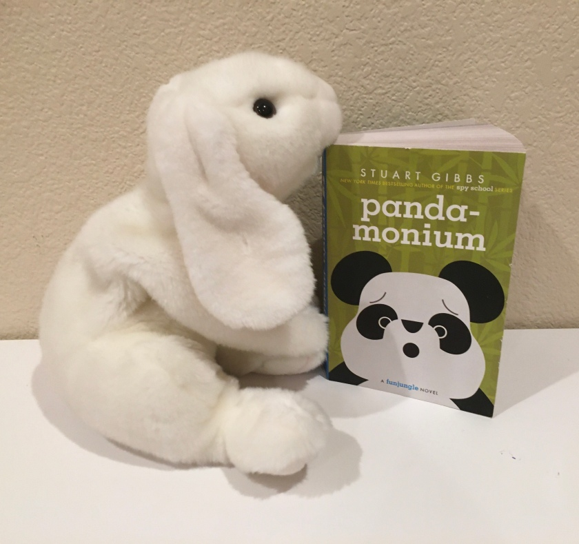 Marshmallow rates Panda-monium by Stuart Gibbs, the fourth book in the FunJungle series, 100%.