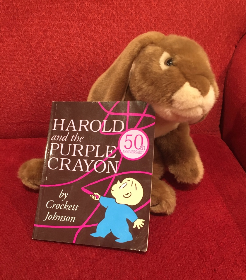 Caramel still enjoys reading Harold and the Purple Crayon by Crockett Johnson and recommends it to all little bunnies and their grownups.