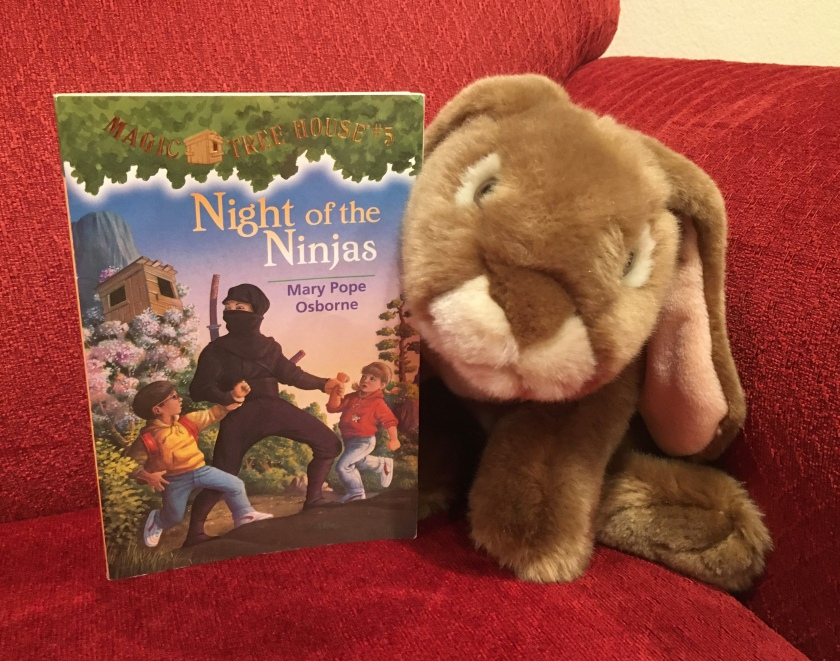 Caramel enjoyed reading Night of the Ninjas (Magic Tree House #5) by Mary Pope Osborne, and would recommend it to all other young bunnies.