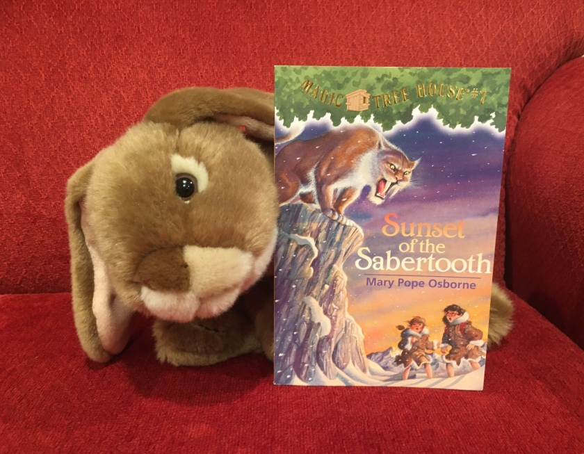 Caramel has enjoyed reading Sunset of the Sabertooth (Magic Tree House #7) by Mary Pope Osborne, and recommends it to all bunnies who love to read about Jack and Annie's adventures with the magic tree house.