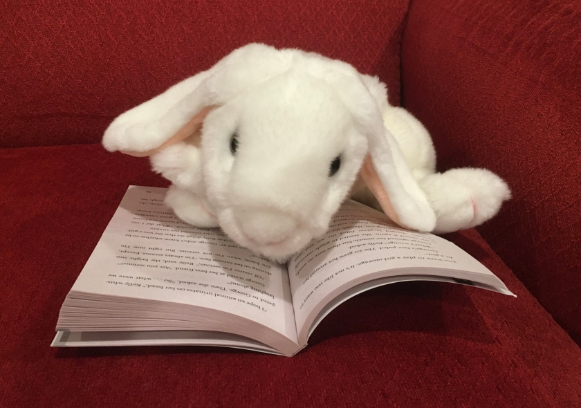 Marshmallow is reading George by Alex Gino.