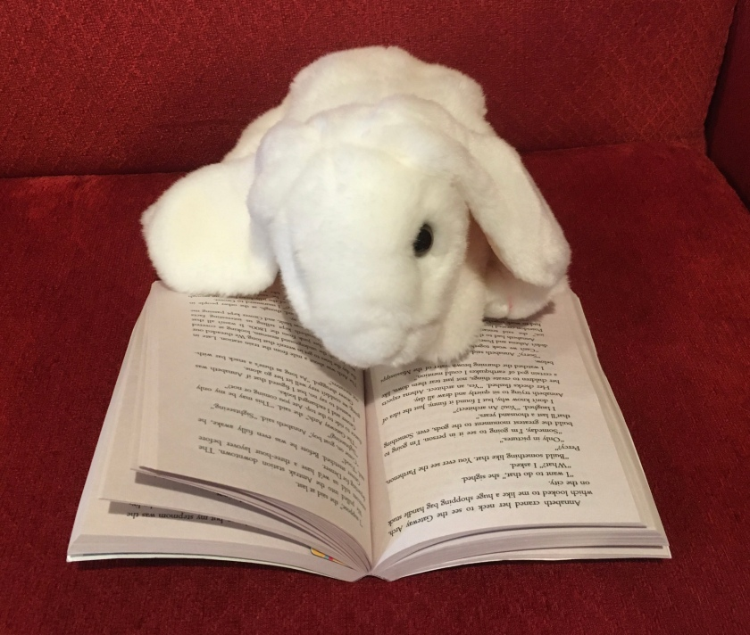 Marshmallow is reading Percy Jackson and the Olympians: The Lightning Thief (Book 1 of the Percy Jackson Series) by Rick Riordan.