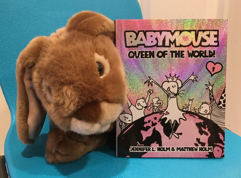 Caramel reviews Babymouse: Queen of the World , the first book in the Babymouse series, written by Jennifer L. Holm and illustrated by Matthew Holm.