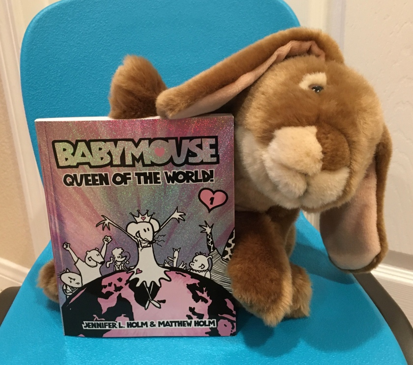 Caramel enjoyed reading Babymouse: Queen of the World , the first book in the Babymouse series, written by Jennifer L. Holm and illustrated by Matthew Holm, and is looking forward to reading more Babymouse books.