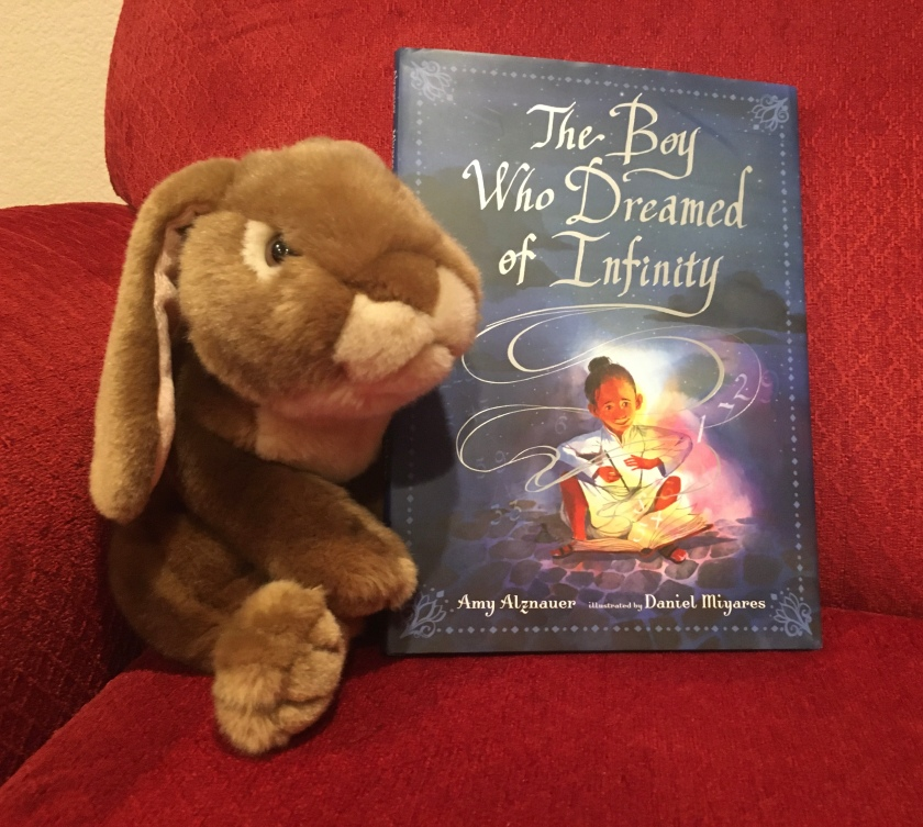 Caramel enjoyed reading The Boy Who Dreamed of Infinity, written by Amy Alznauer and illustrated by Daniel Miyares, and recommends it to all little bunnies.