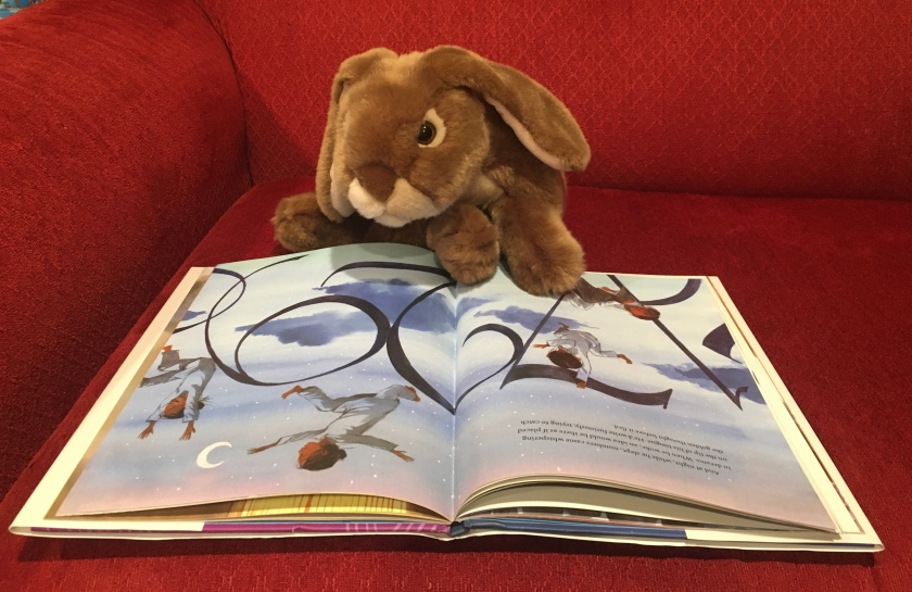 "Caramel is reading The Boy Who Dreamed of Infinity, written by Amy Alznauer and illustrated by Daniel Miyares. These pages are about the nights when ""while he slept, numbers came whispering in dreams."""
