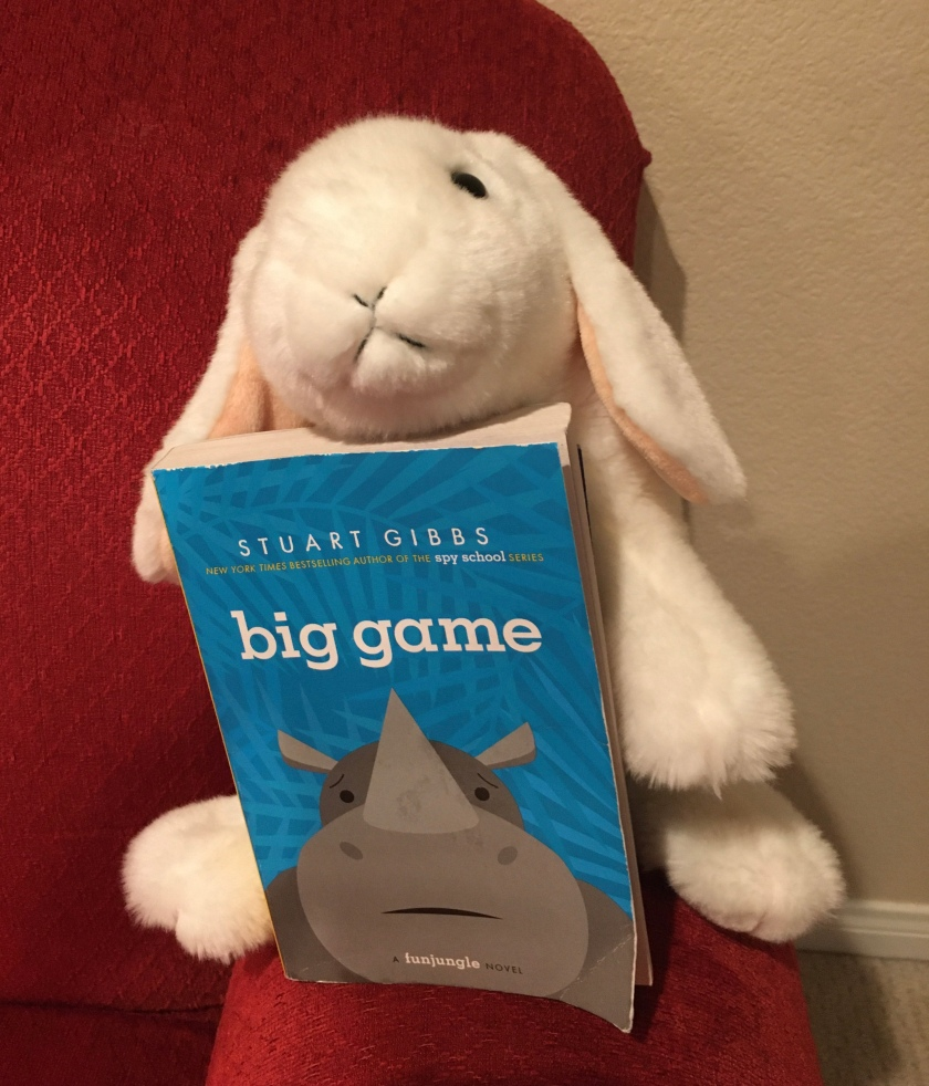 Marshmallow rates the third book, Big Game, in the FunJungle series by Stuart Gibbs, 95%..