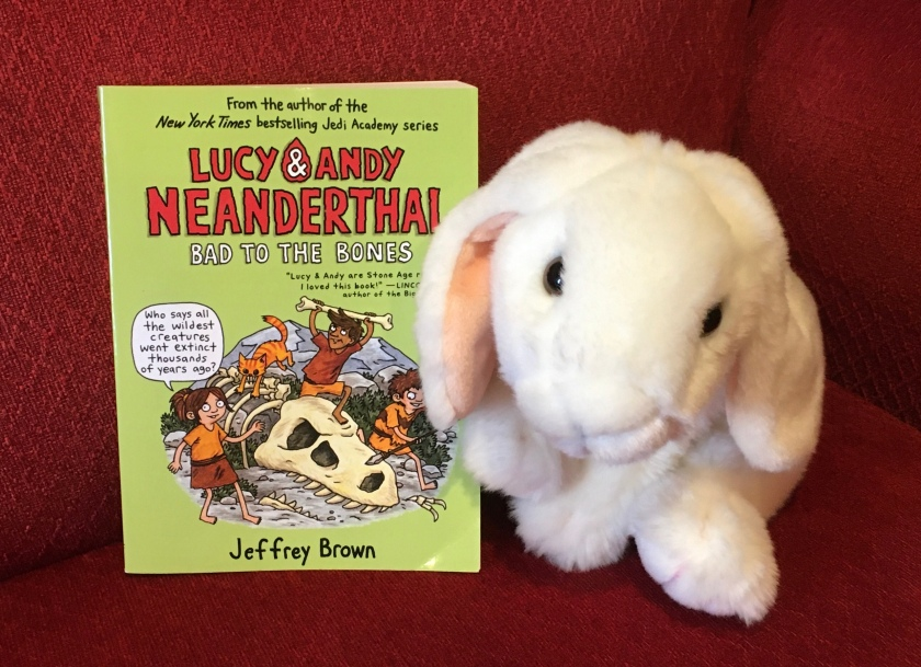Marshmallow reviews Lucy and Andy Neanderthal: Bad to the Bones (the third book in the Lucy and Andy Neanderthal series) by Jeffrey Brown.