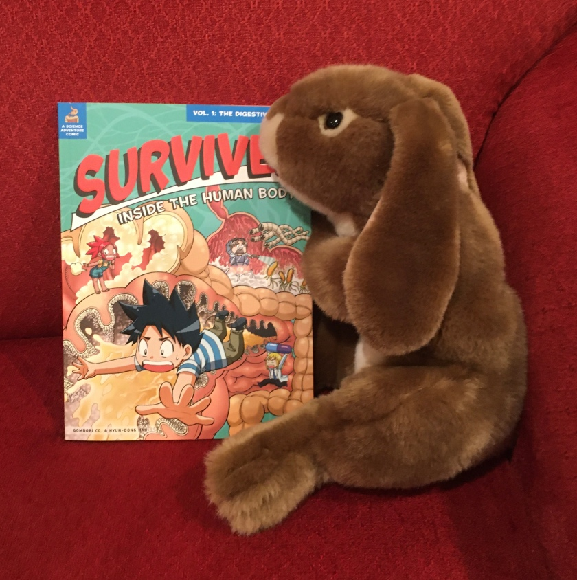 Caramel has enjoyed reading Survive: The Digestive System, illustrated by Hyun-Dong Han, and recommends it to all other little bunnies interested in the human body.
