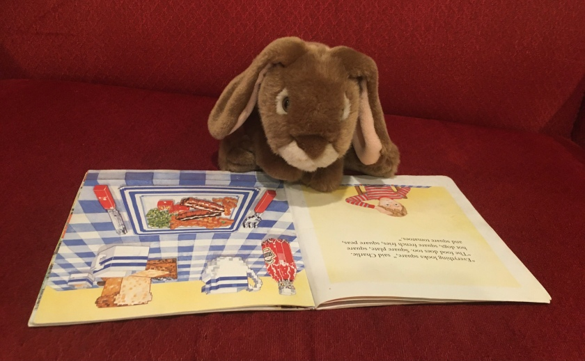 "Caramel is reading The Boy with Square Eyes by Juliet Snape and Charles Snape. He is on the page when Charlie tells his mom, ""Everything looks square. The food does, too. Square plate, square hot dogs, square french fries, square peas, and square tomatoes."""