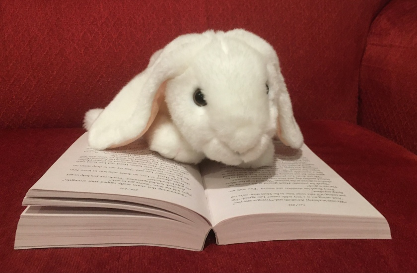 Marshmallow is reading The Mark of Athena (Book 3 of the Heroes of Olympus Series) by Rick Riordan.