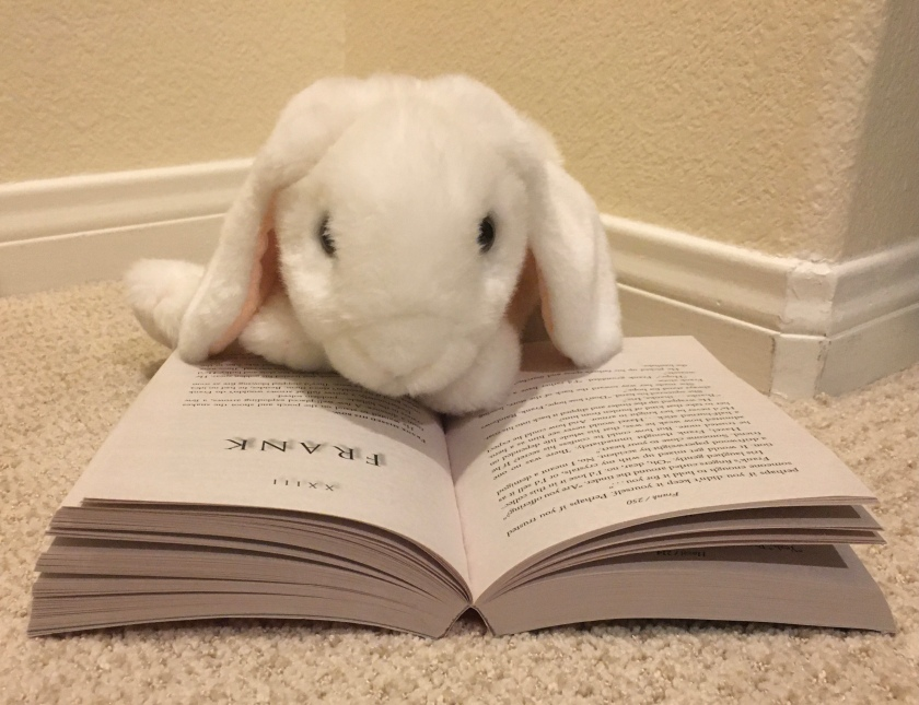 Marshmallow is reading The Son of Neptune (Book 2 of the Heroes of Olympus Series) by Rick Riordan.