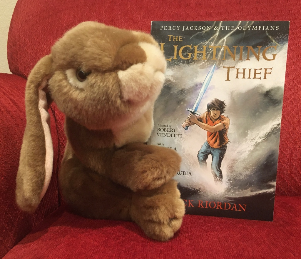 Caramel enjoyed reading The Lightning Thief: The Graphic Novel, written by Rick Riordan, and adapted by Robert Venditti, with Attila Futaki, Jose Villarrubia, Orpheus Collar, and Chris Dickey.