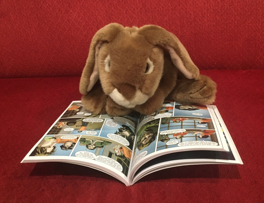 Caramel is reading The Lightning Thief: The Graphic Novel, written by Rick Riordan, and adapted by Robert Venditti, with Attila Futaki, Jose Villarrubia, Orpheus Collar, and Chris Dickey.