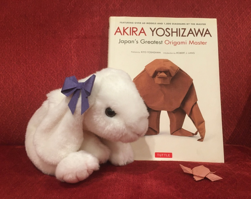 Marshmallow reviews Akira Yoshizawa: Japan's Greatest Origami Master, with text, diagrams, and models by Akira Yoshizawa. Accompanying her is her little friend, Turtle.