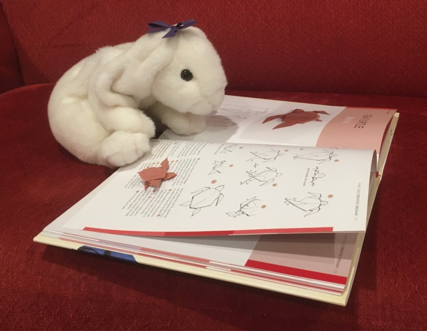 Marshmallow and Turtle are looking at the directions to make a sea turtle in Akira Yoshizawa: Japan's Greatest Origami Master, with text, diagrams, and models by Akira Yoshizawa.