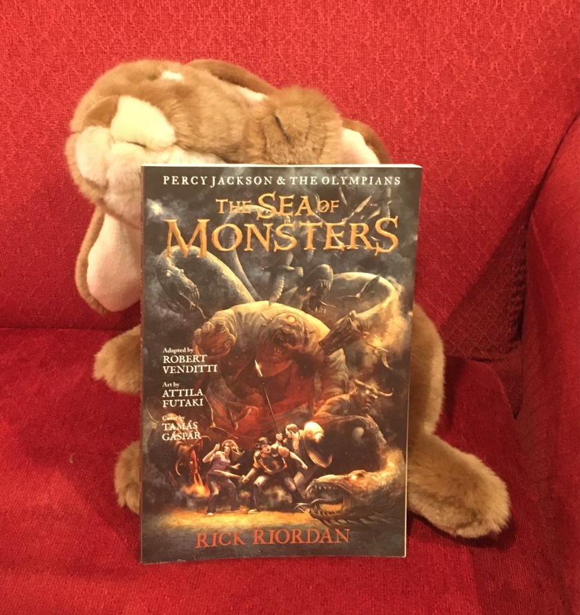 Caramel enjoyed reading The Sea of Monsters: The Graphic Novel by Rick Riordan, adapted by Robert Venditti, with Attila Futaki, Tamas Gaspar, and Chris Dickey.