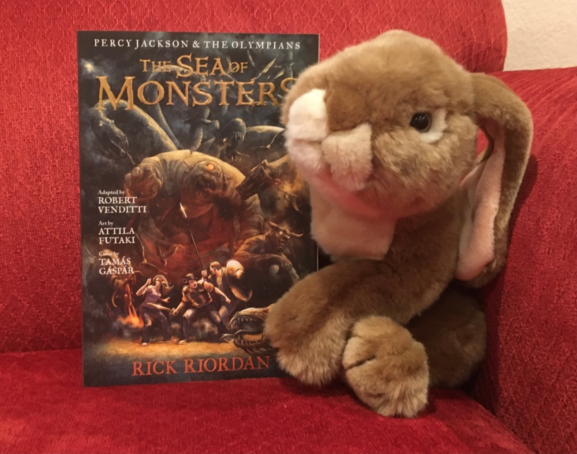 Caramel reviews The Sea of Monsters: The Graphic Novel by Rick Riordan, adapted by Robert Venditti, with Attila Futaki, Tamas Gaspar, and Chris Dickey.