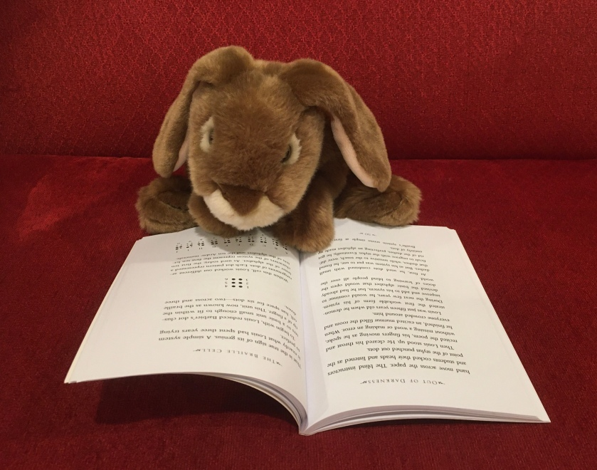 Caramel is reading Out of Darkness: The Story of Louis Braille, written by Russell Freedman and illustrated by Kate Kiesler He is on the page where the Braille alphabet is being described. .