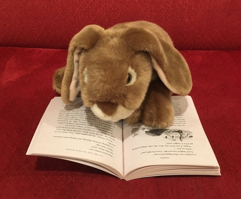 Caramel is reading Poppy, written by Avi and illustrated by Brian Floca.