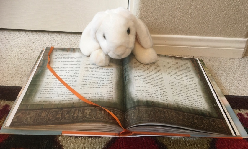 Marshmallow is reading Harry Potter and the Chamber of Secrets written by J.K. Rowling and illustrated by Jim Kay.