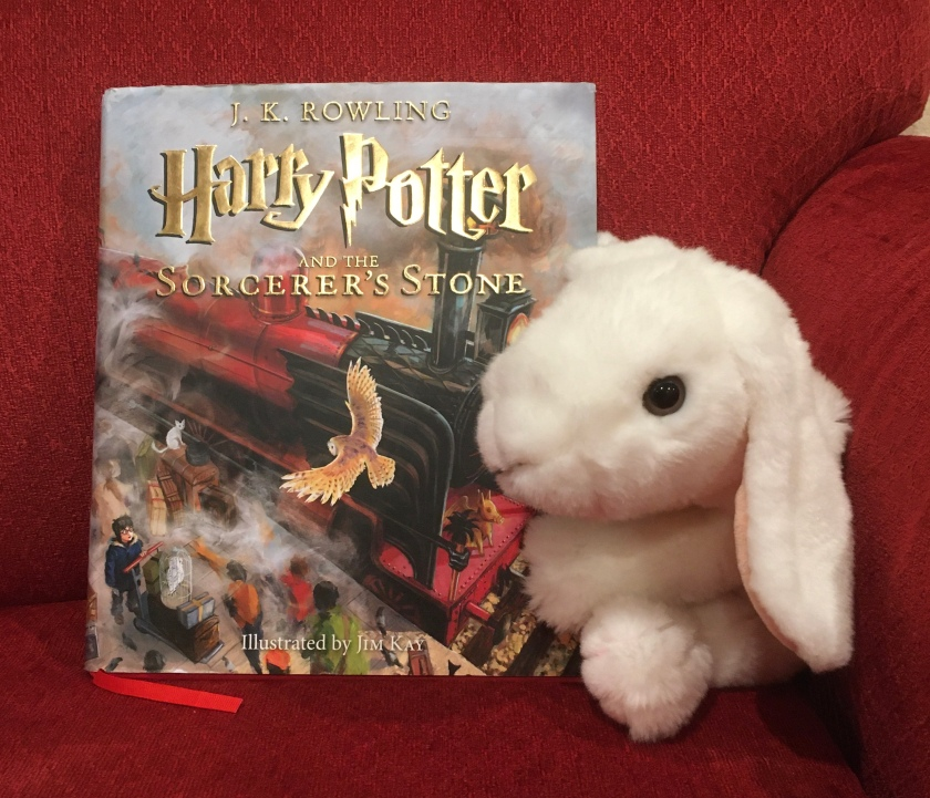 Marshmallow rates Harry Potter and the Sorcerer's Stone, written by J.K. Rowling and illustrated by Jim Kay, 100%.