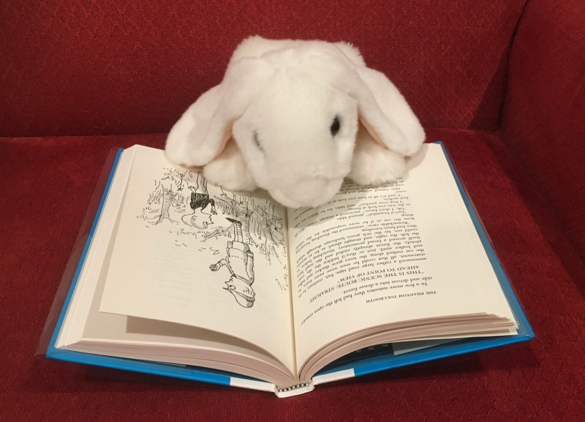 Marshmallow is reading The Phantom Tollbooth, written by Norton Juster and illustrated by Jules Feiffer.